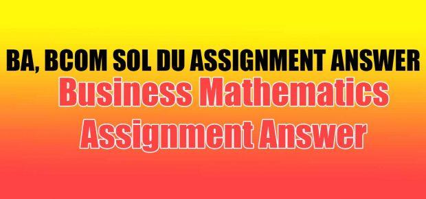 Business Mathematics Assignment Answer