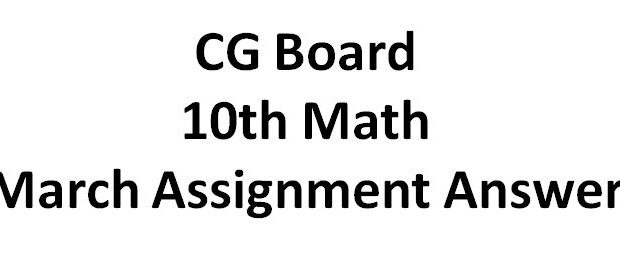 CG Board 10th Math March Assignment Answer